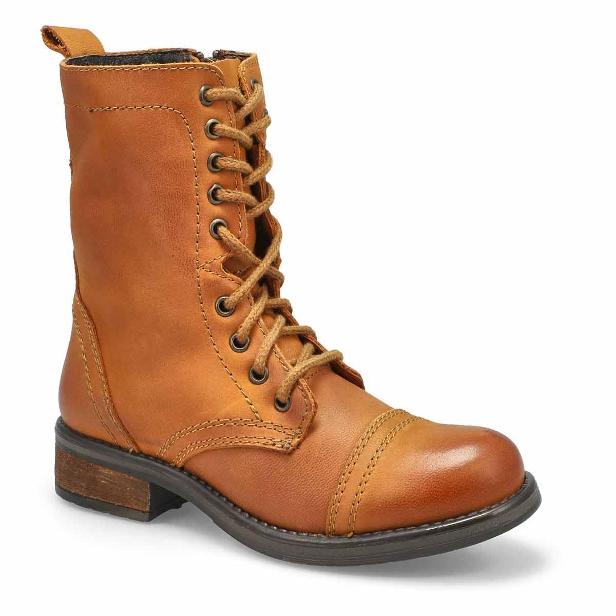 Women's TROOPA 4.0 cognac lace up combat boots