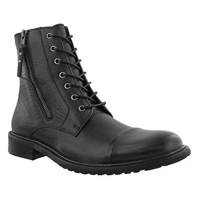 SoftMoc Men's TROOPER black leather lace & zip boots