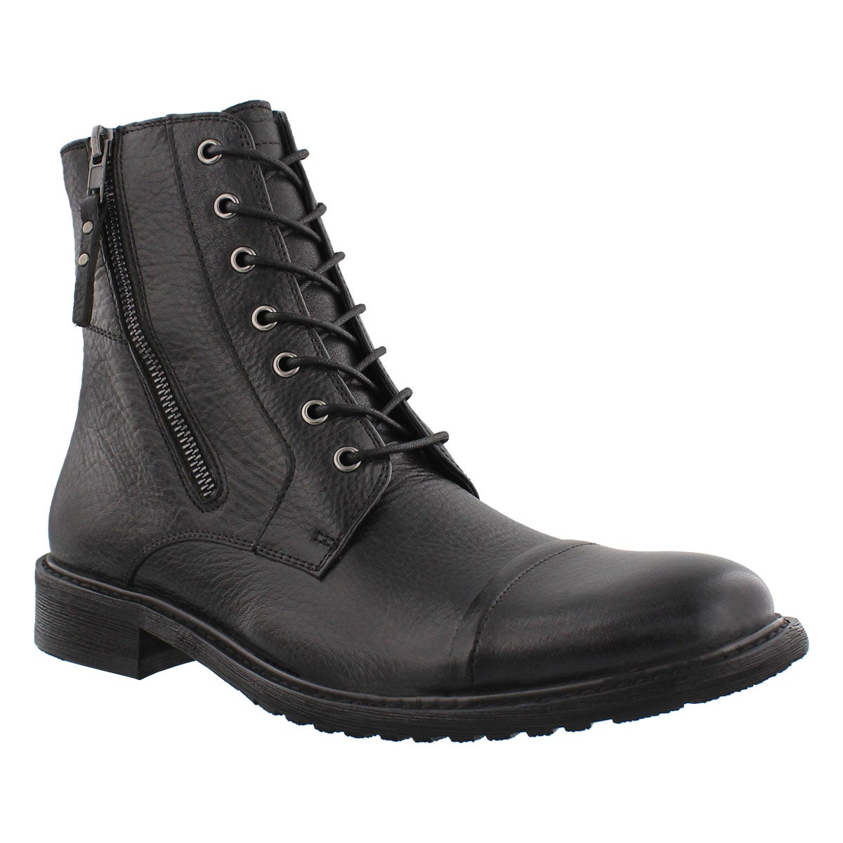 Mns Trooper blk lthr lace & zip boot