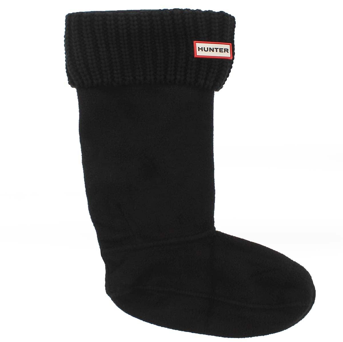 Lds Half Cardigan blk boot sock