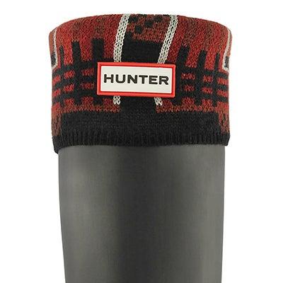 Women's BLOCK TARTAN lava red boot socks