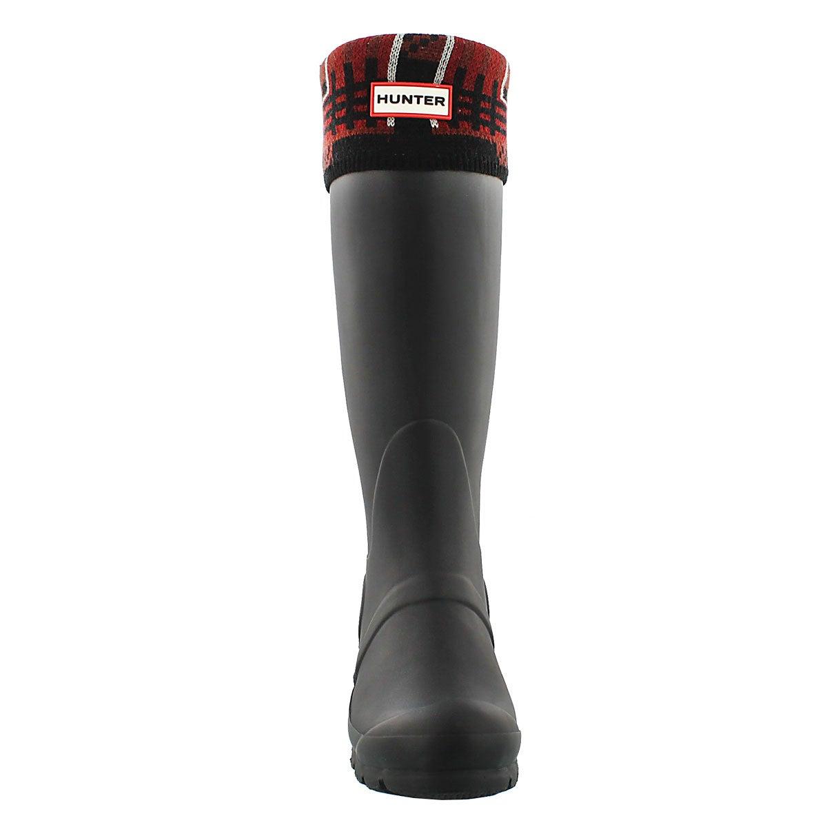 Lds Block Tartan lava red boot sock