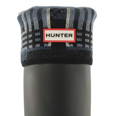 Hunter Women's BLOCK TARTAN mineral blue boot socks