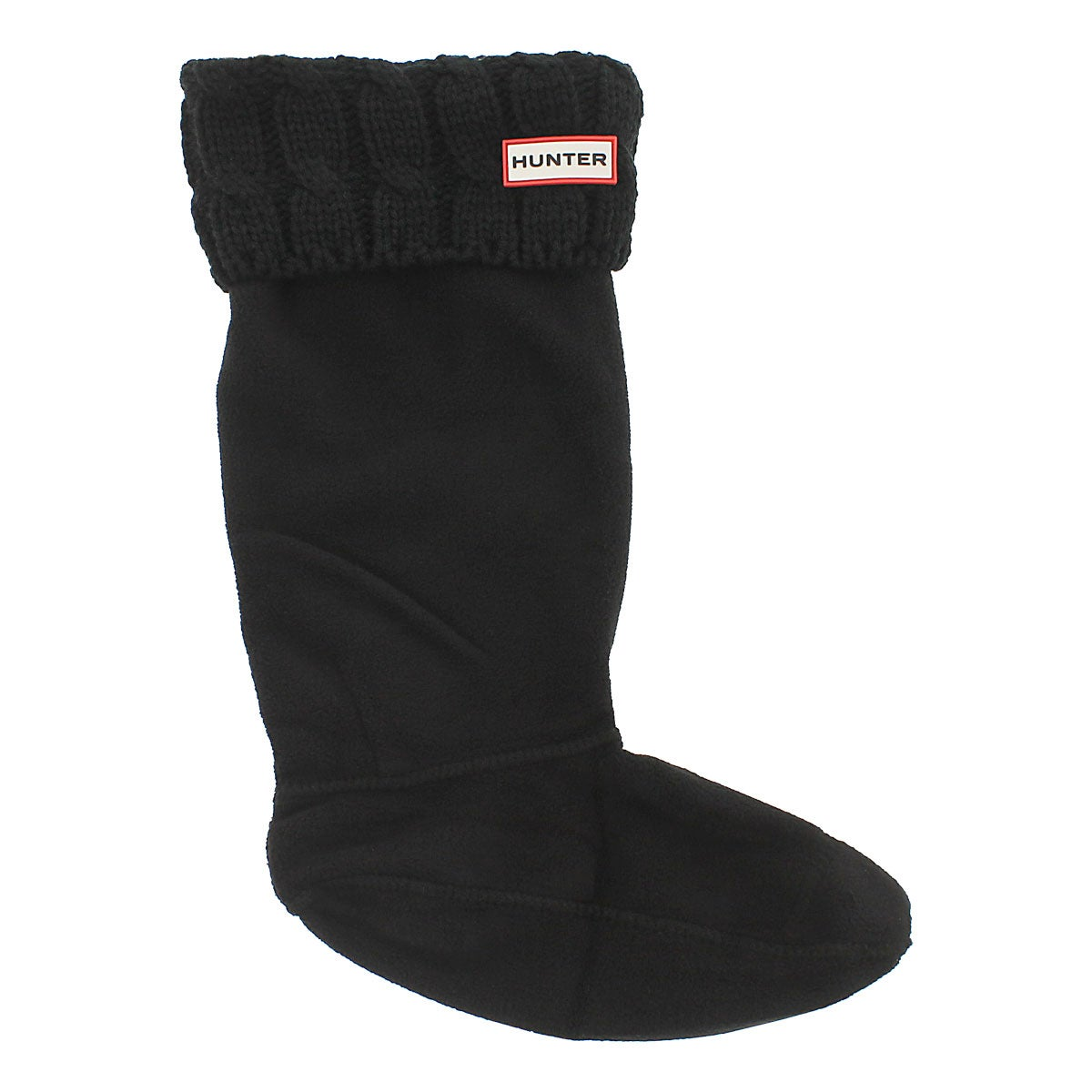 Lds 6 Stitch Cable black boot sock
