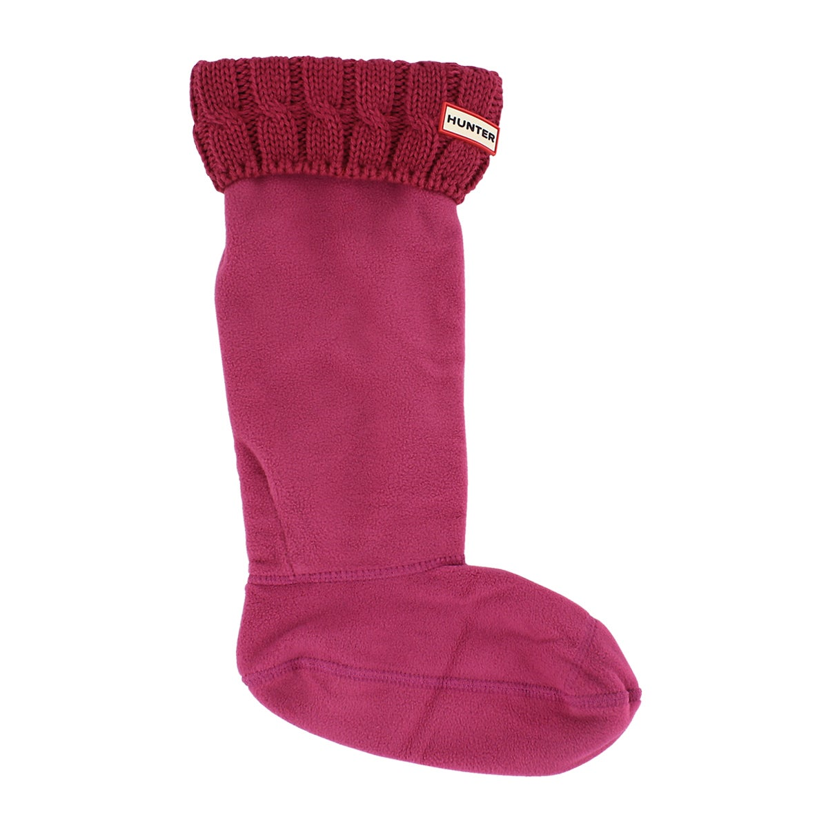 Lds 6 Stitch Cable drk pink boot sock