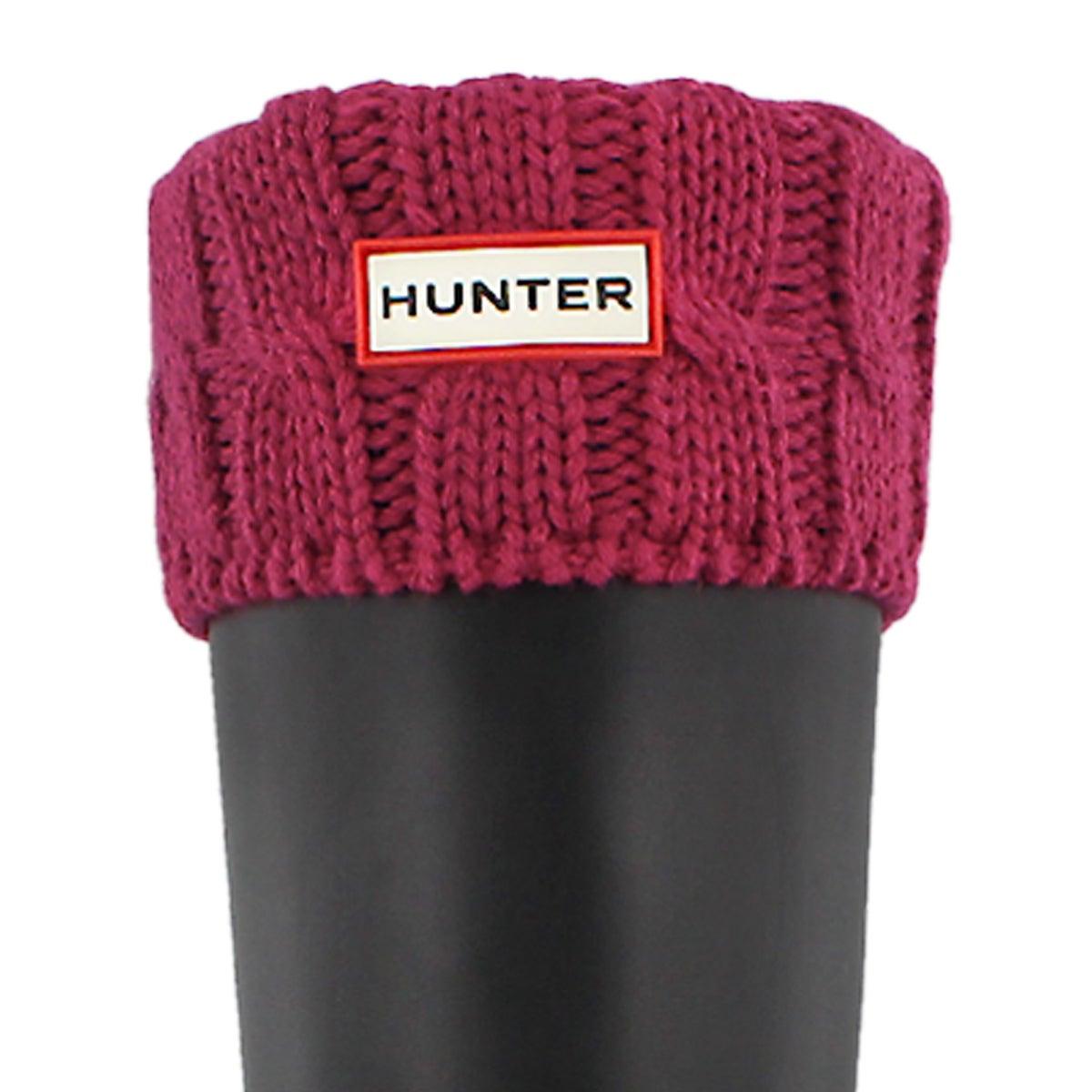Women's 6 STITCH CABLE dark pink boot socks