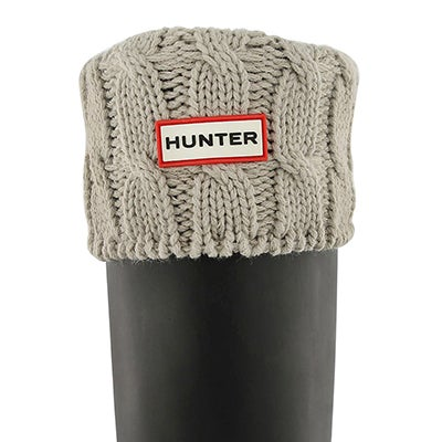 Hunter Women's 6 STITCH CABLE greige boot socks