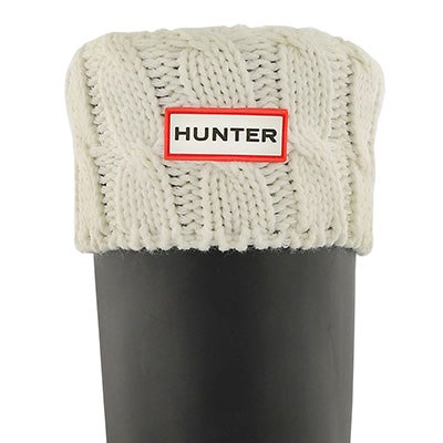 Hunter Women's 6 STITCH CABLE natural white boot socks