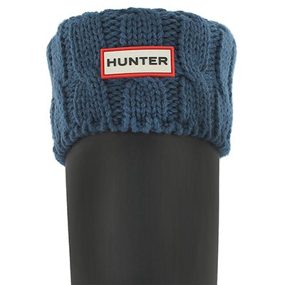 Hunter Women's 6 STITCH CABLE tarp blue boot socks