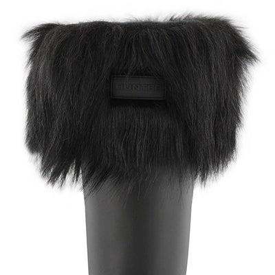 Lds Faux Fur Cuff black boot sock