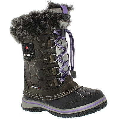 Superfit Girls' UBIKA grey/lavender waterproof winter boots
