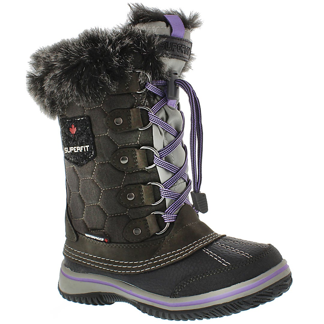 Girls' UBIKA grey/lavender waterproof winter boots