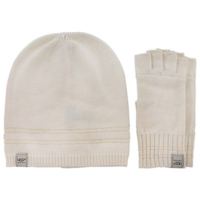 UGG Australia Women's UG1951 hat & glove box set in cream