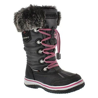 Superfit Girls' UKINA grey/pink waterproof winter boots