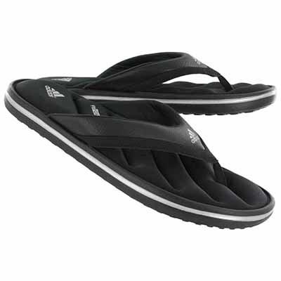Adidas Men's ZEITFREI black/silver flip flop sandals