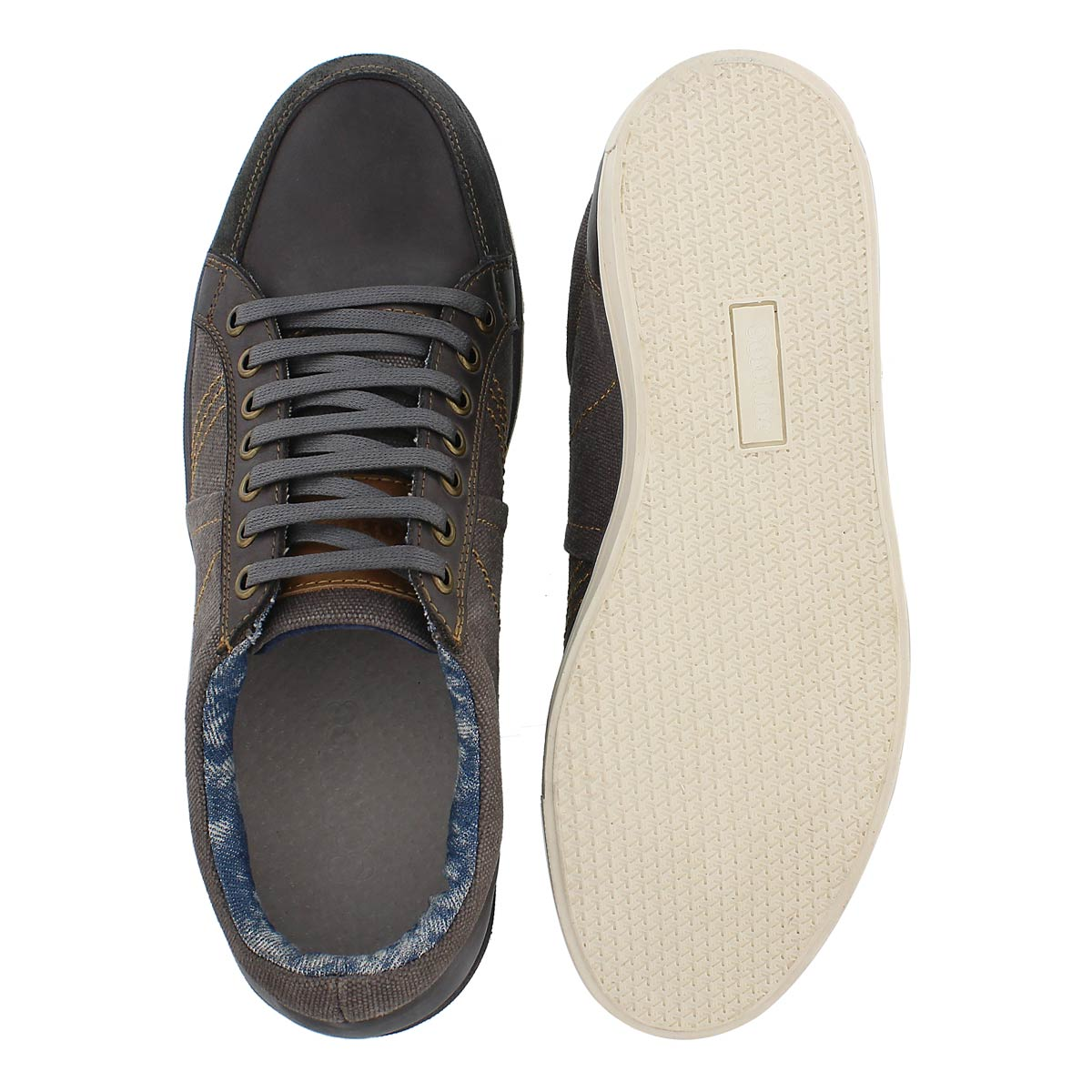 Mns Vagabond grey canvas/leather sneaker