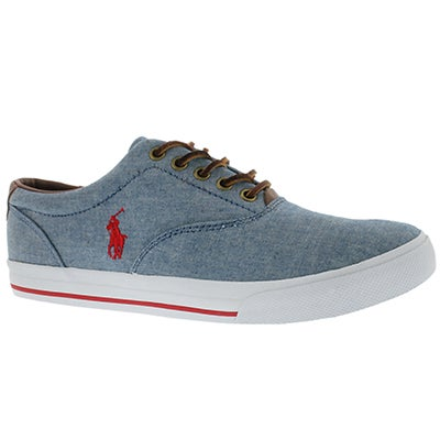 Polo Men's VAUGHN blue chambray/leather sneakers
