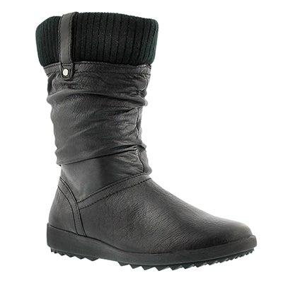 Botte hiver imp. VIENNA, cuir noir, fem