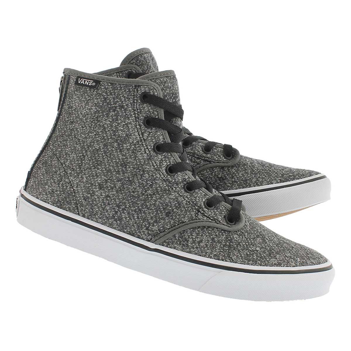 Lds Camden Hi Zip grey lace up snkr