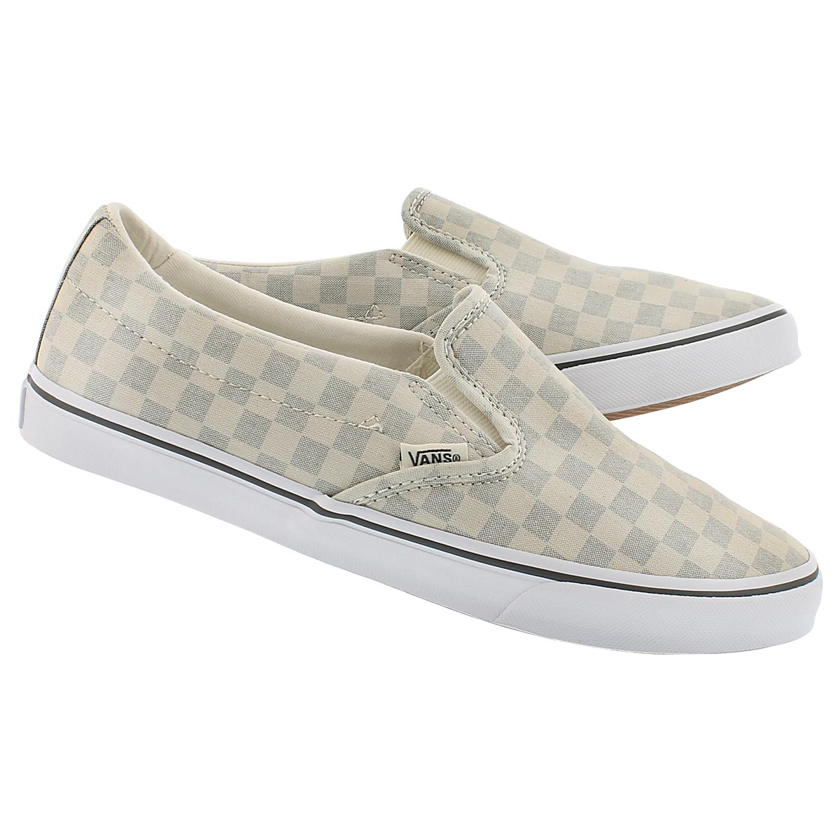 Lds Asher Low grey checkered slip on