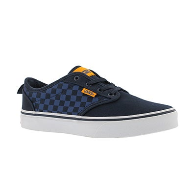 Vans Boys' ATWOOD blue/orange canvas slip on sneakers