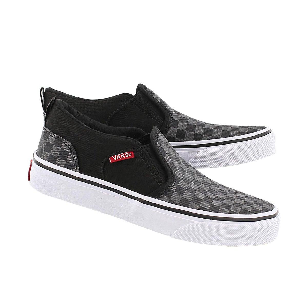 Bys Asher blk checkered slip on sneaker