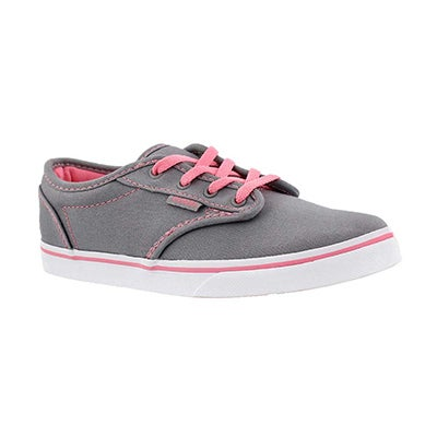 Vans Girls' ATWOOD LOW grey/pink lace up sneakers