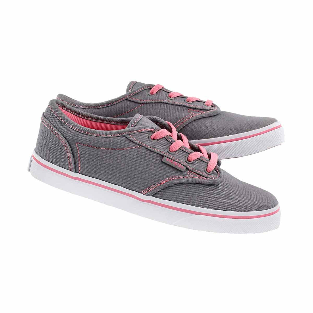 Grls Atwood Low gry/pnk lace up sneaker
