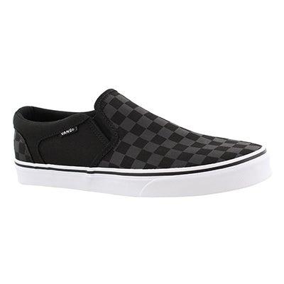 Vans Men's ASHER black checkered slip on sneakers
