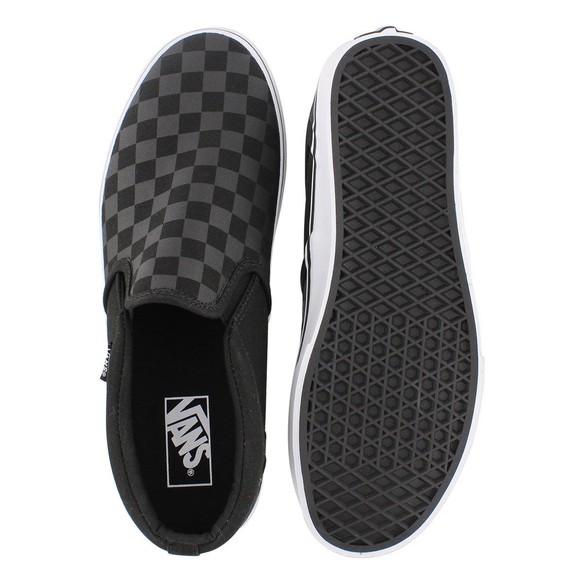 Mns Asher black checkered slipon sneaker