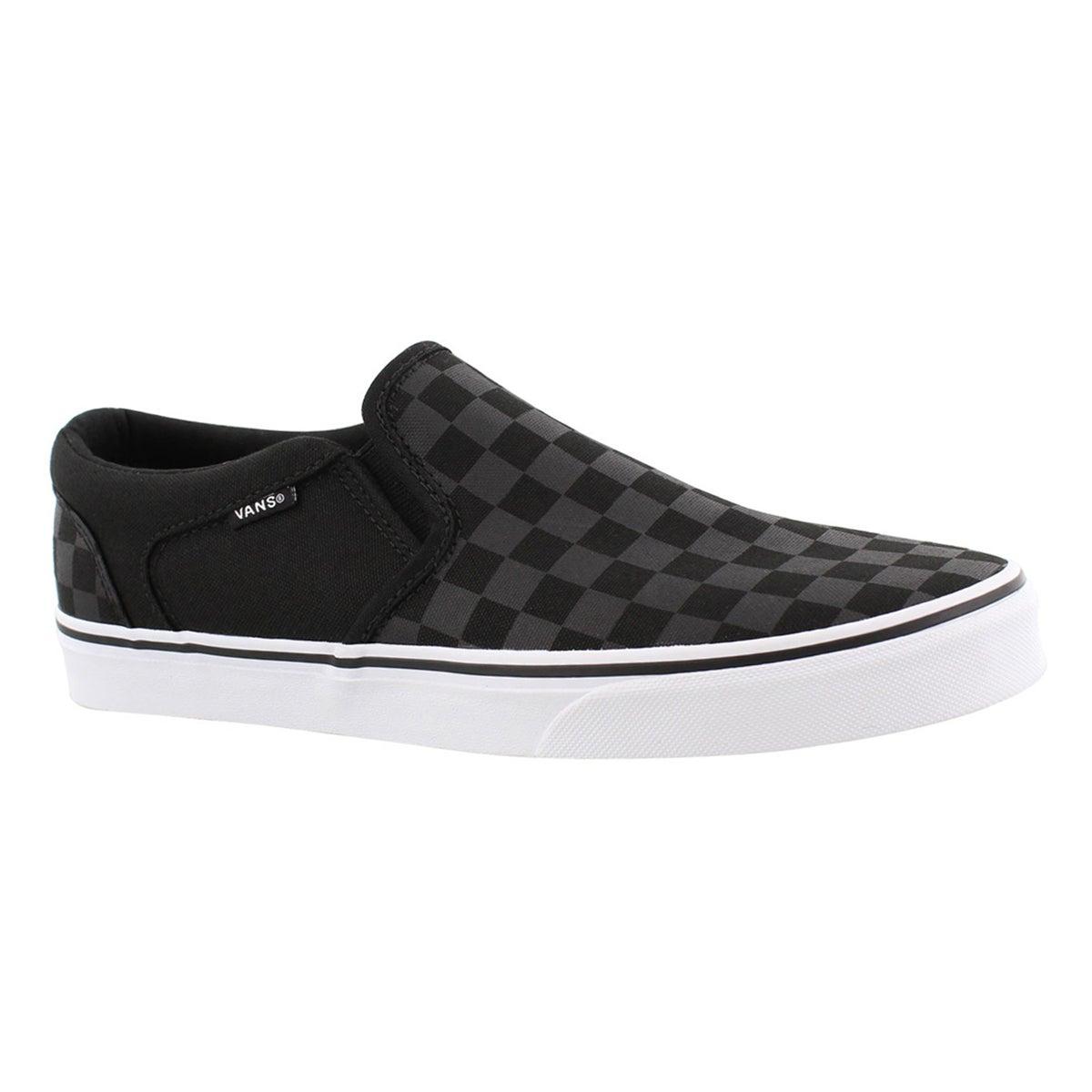 Men's ASHER black checkered slip on sneakers