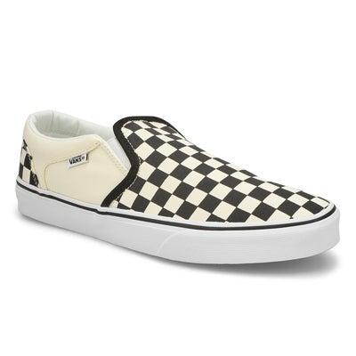 Vans Men's ASHER black/natural checkered slip on shoes