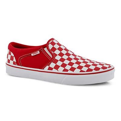 Mns Asher red/wht checkered slipon snkr