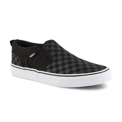 Bys Asher blk/blk checkered slipon snkr