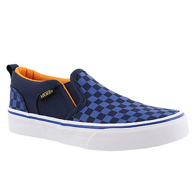 Vans Boys' ASHER blue checkered slip on sneakers