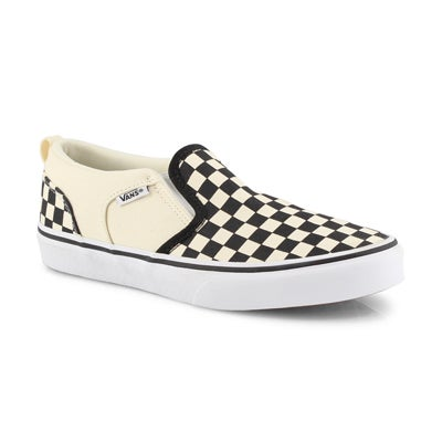 Bys Asher blk/nat checkered slipon snkr