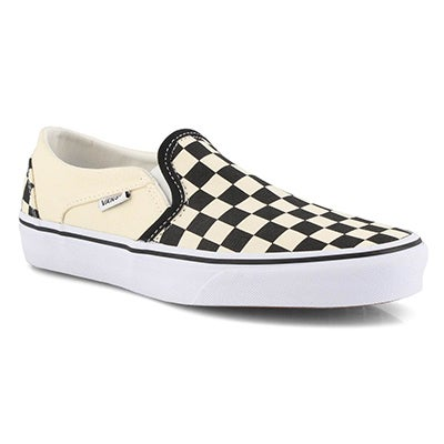 Lds Asher-Checker blk/wht slip on snkr