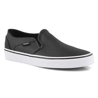 Vans Women's ASHER black leather slip on sneakers