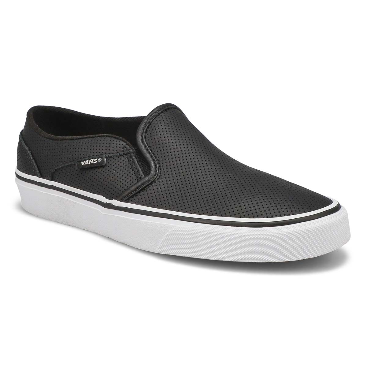 Lds Asher black leather slip on sneaker