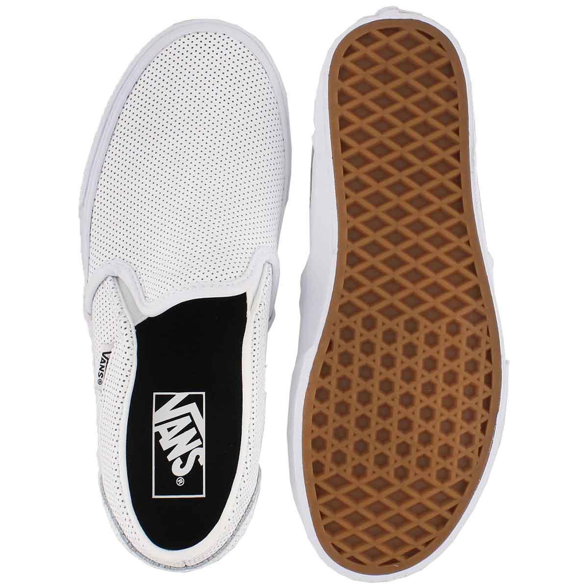 Lds Asher white leather slip on sneaker