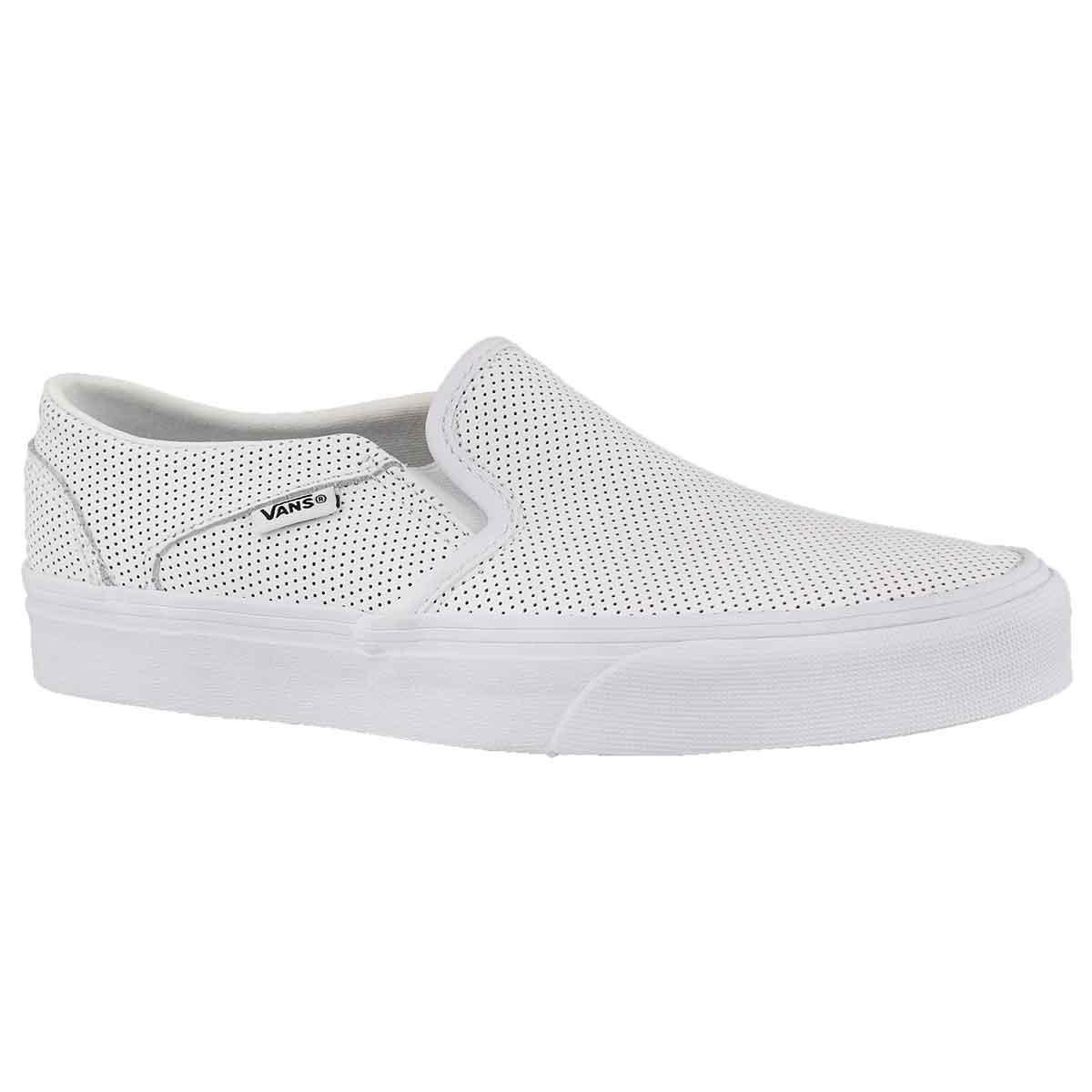 Women's ASHER white leather slip on sneakers