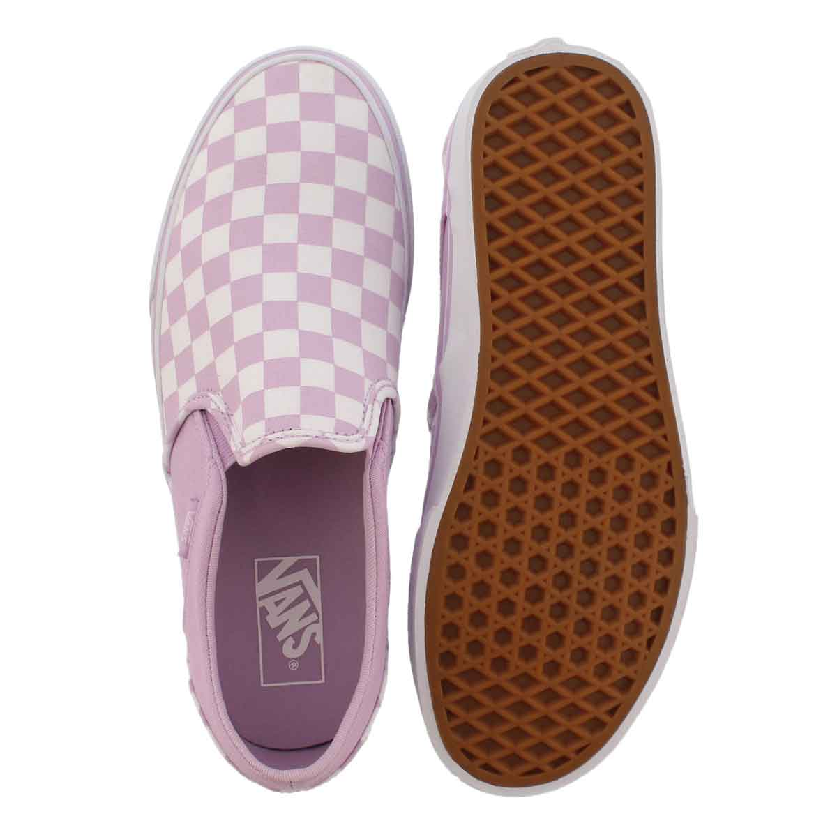 Lds Asher lilac/wht checkered slip on