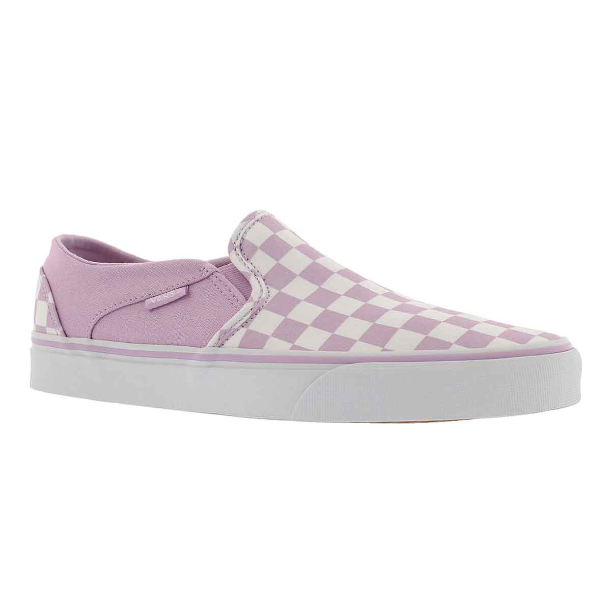 Women's ASHER lilac/wht checkered slip ons