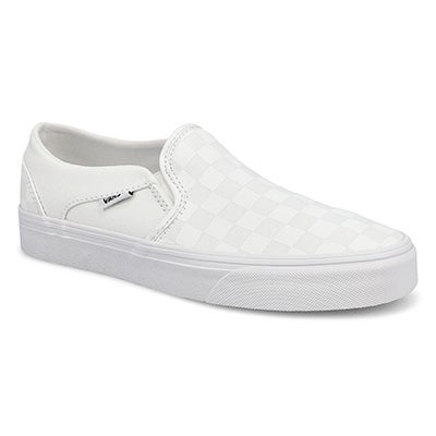 Lds Asher-Checker wht/wht slip on snkr
