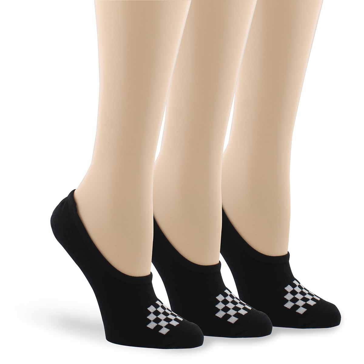 Lds Basic Canoodle bk/wht ankle sock 3p
