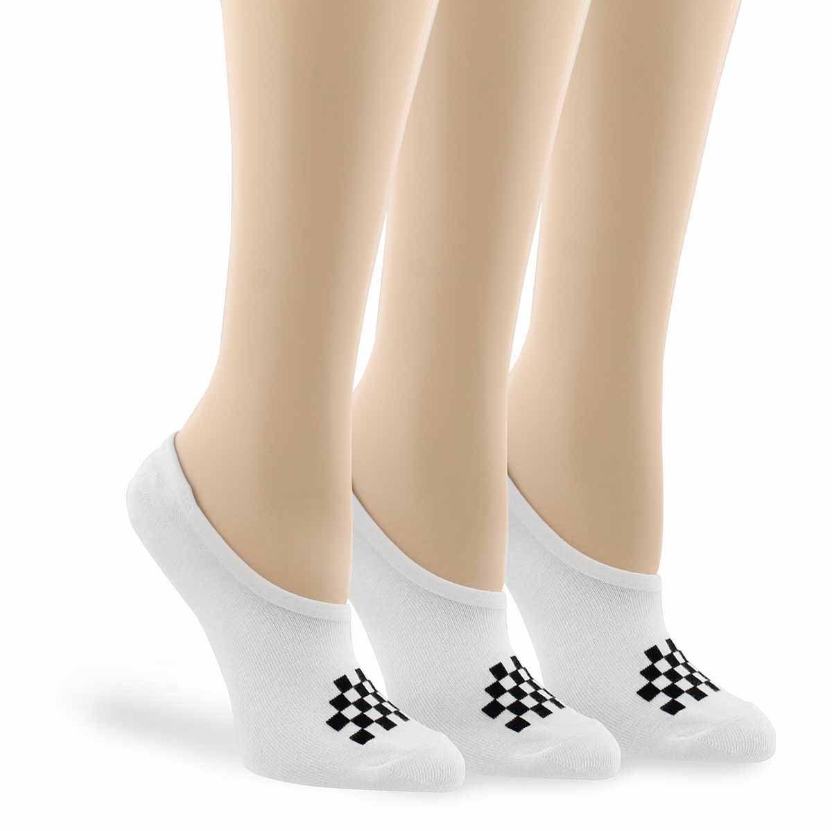 Lds Basic Canoodle wht/blk ankle sock 3p