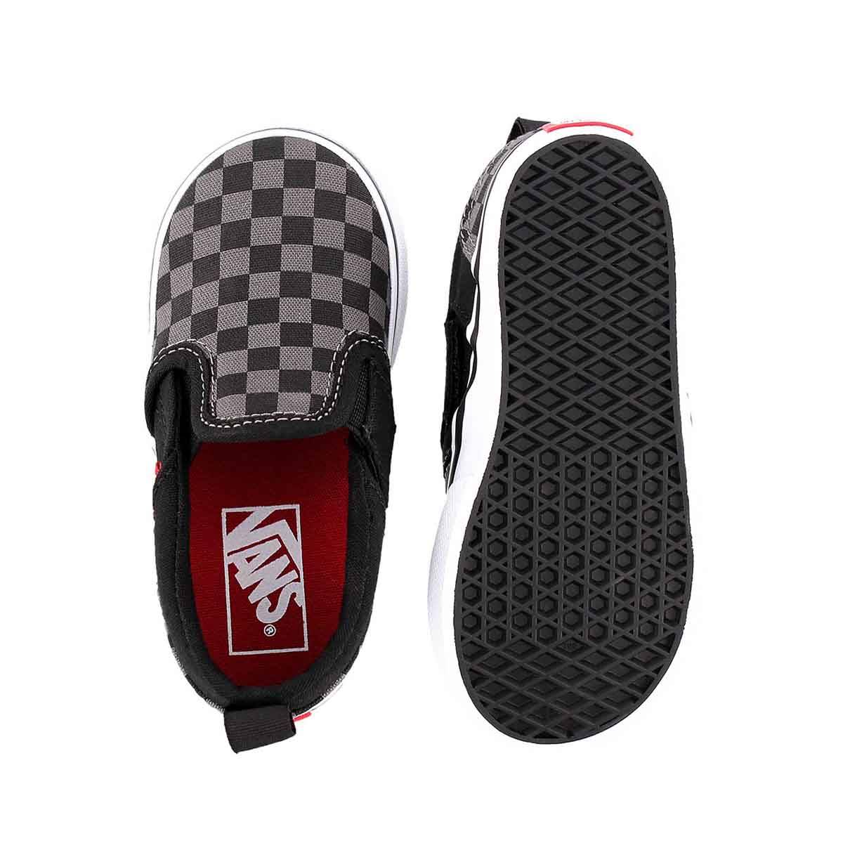 Infs-b Asher blk checkered slipon snkr