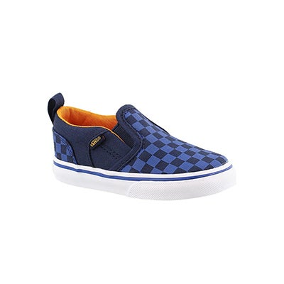 Vans Infants' ASHER blue checkered slip on sneakers
