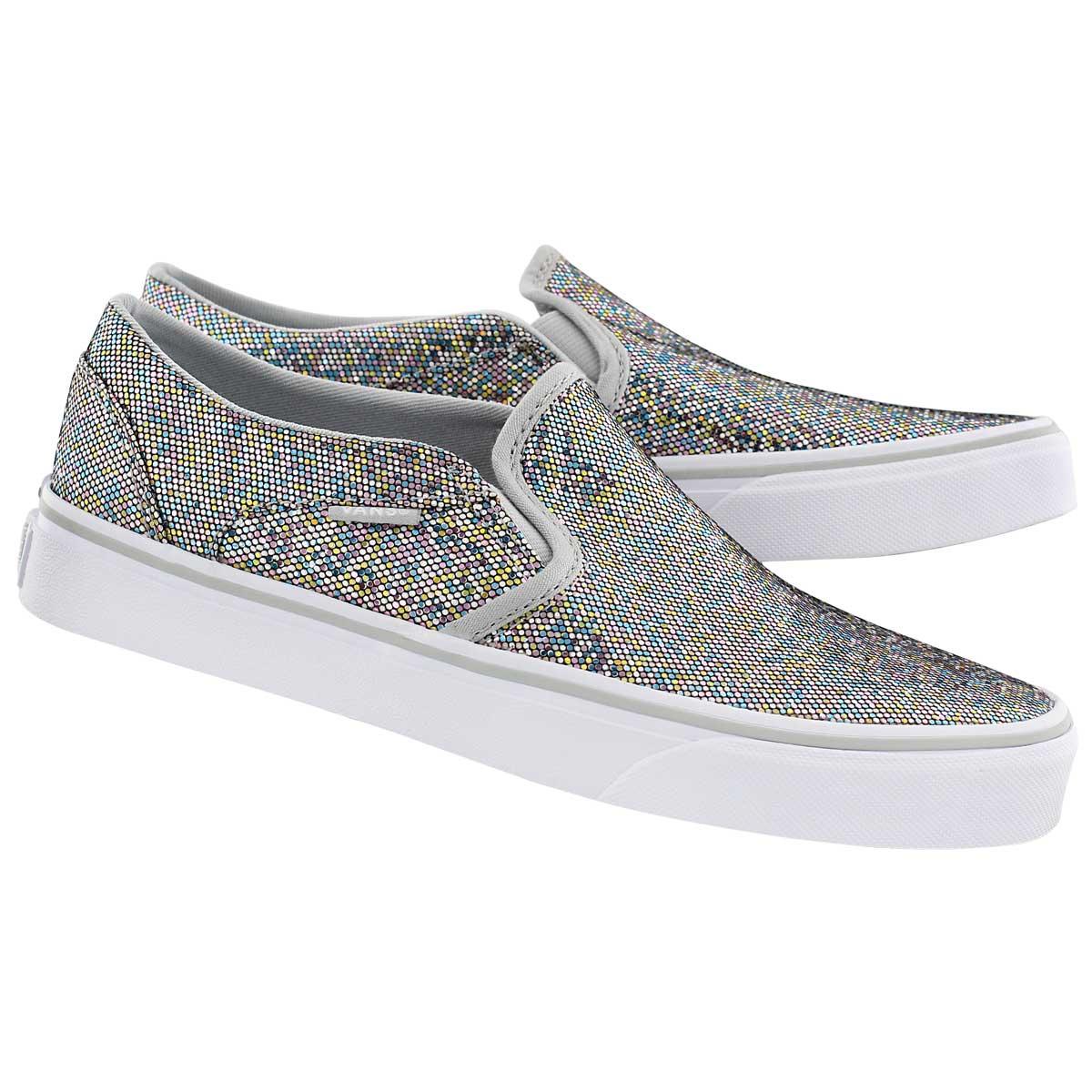 Lds Asher glitter/multi slip on sneaker