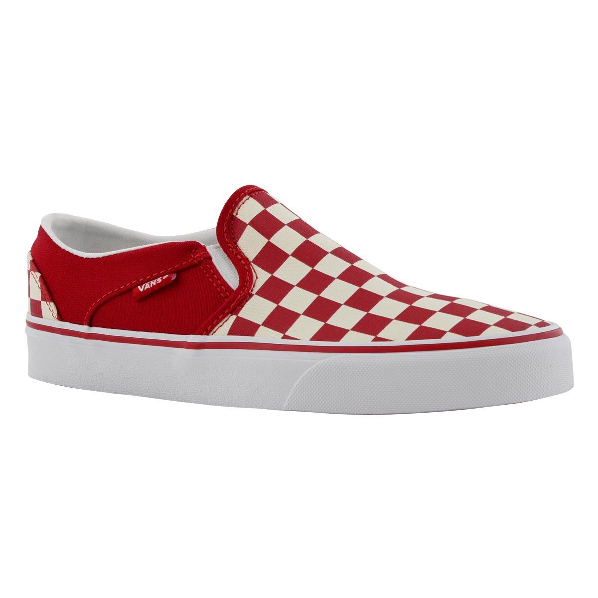 Women's ASHER redwhite checker slip on sneakers